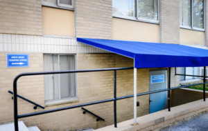 Blue awning door to Chevy Chase Pediatrics